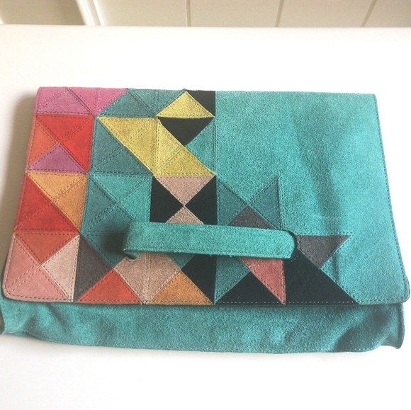 Anthropologie Handbags - Stylish Colorful Suede Anthropologie Clutch